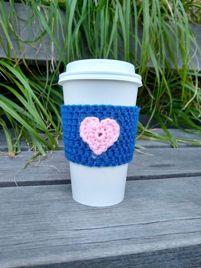 Blue Crochet Coffee Cozy with Pink Heart Coffee Sleeve image 0