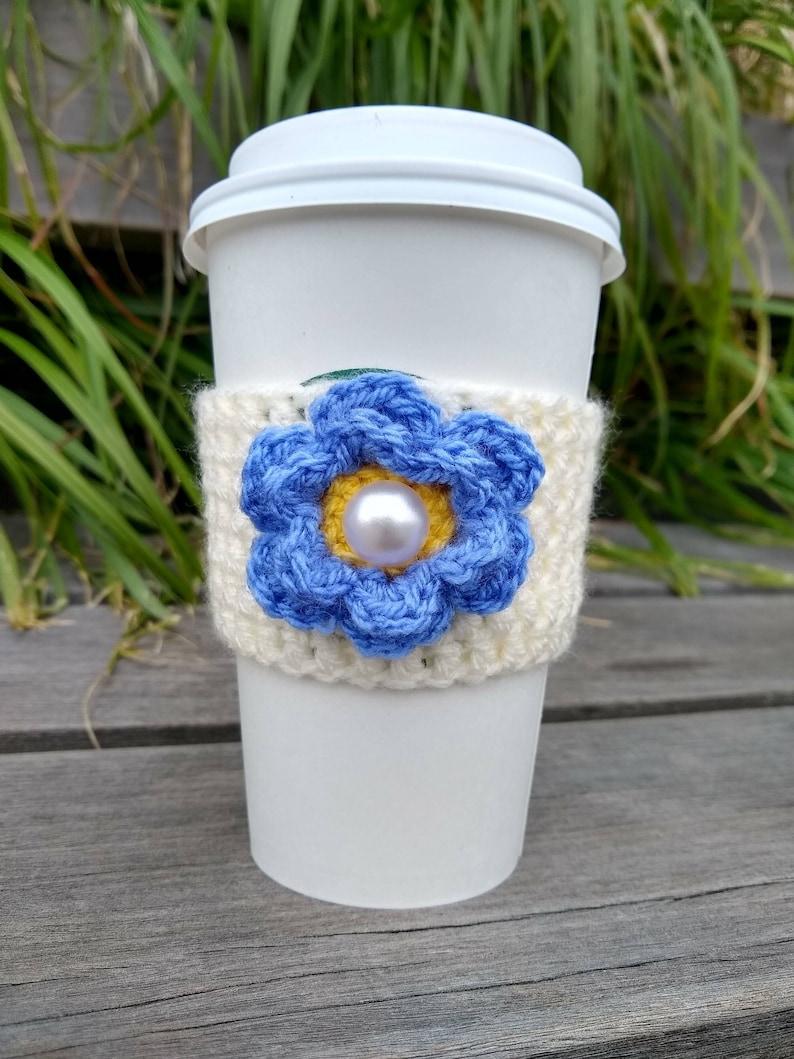 Crochet Coffee Sleeve Cream with Purple Flower image 0