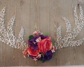 String art antler barn board home decor