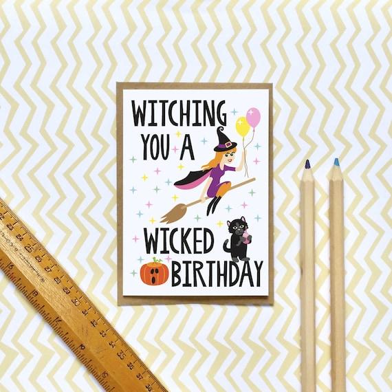 Lustige Geburtstagskarte / Halloween Hexe Geburtstagskarte / | Etsy
