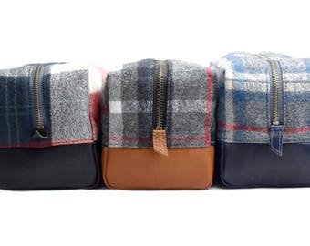 Genuine Leather with Flannel Toiletry Travel Kit,For Him,Men's Travel Bag,