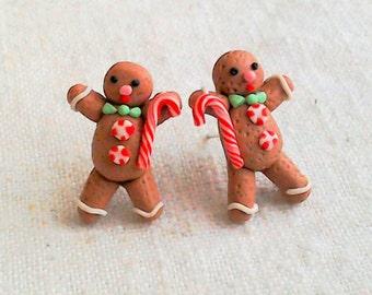 Gingerbread man earrings,polymer clay earrings,food jewelry,christmas earrings,christmas jewelry,gifts for her,christmas studs,secret Santa,
