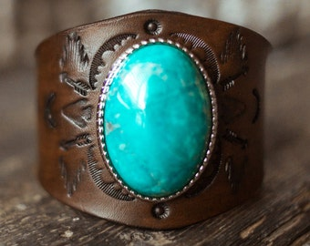 Leather Turquoise Cuff, Southwest Leather Bracelet, Native American Leather Cuff, Boho Leather Bracelet, Turquoise Bracelet