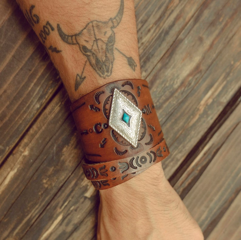 402a91f8fa9ac Personalized Turquoise Bracelet, Southwest Leather Cuff, Custom Initials  Leather Bracelet, Native American, Boho Leather Cuff