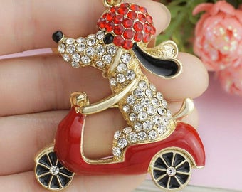 Snoopy Riding A Motorcycle Crystal Rhinestone Keychain