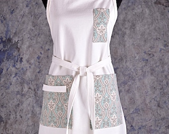 White Denim Full Apron