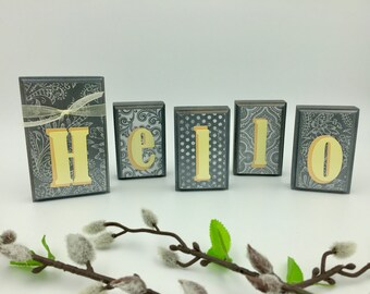 Hello Wood Blocks - Yellow/Gray