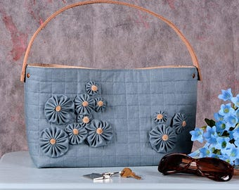 Linen & Leather Handbag Tote
