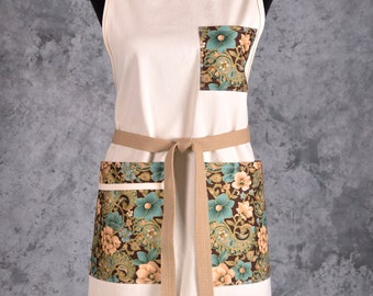 Khaki Full Apron with Floral-Paisley Pockets