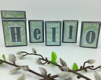Hello Wood Blocks - Mint/Gray