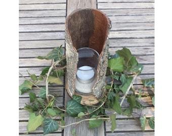 Windlight, tea light holder, candle holder made of birch wood and birch bark
