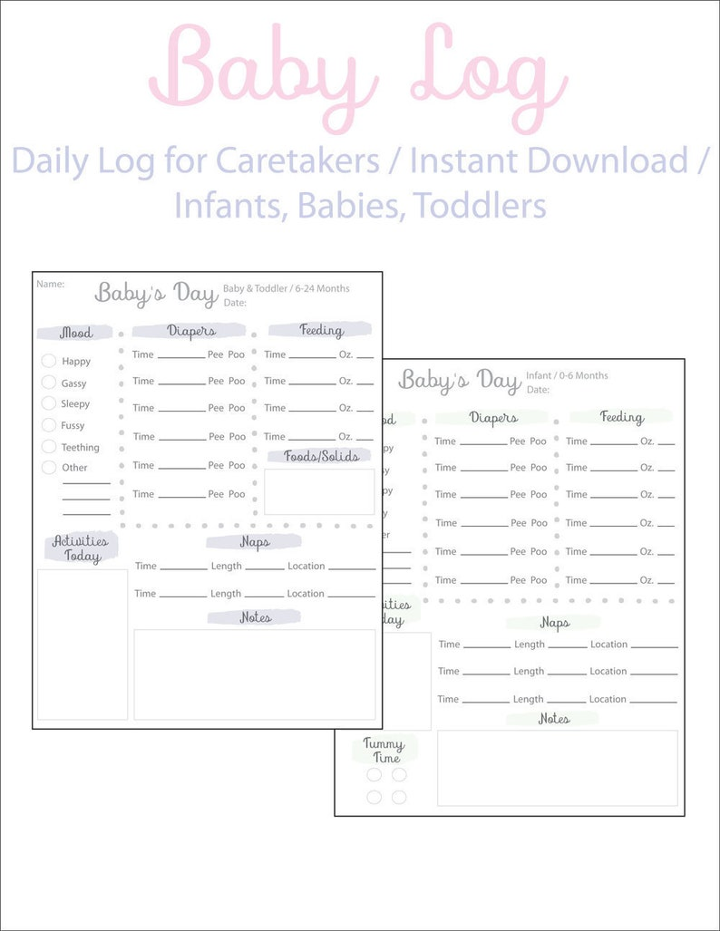 graphic relating to Baby Daily Log Printable called Every day Log for Youngster, Childcare Log, Infants Routine, Prompt Obtain, Little one and Infant, Printable Nanny Log, Youngster Log