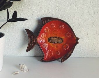 Vintage orange glaze brown matte candy dish ashtray double fish