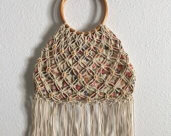 Vintage Handmade Macrame Purse with Wooden Handles • Handmade Macrame Bag with Flower Print and Circular Wooden Handles