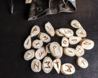 Antler Elder Futhark Runes with Leather Bag