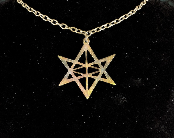 Blazing Star Unicursal Hexagram Pendant Necklace