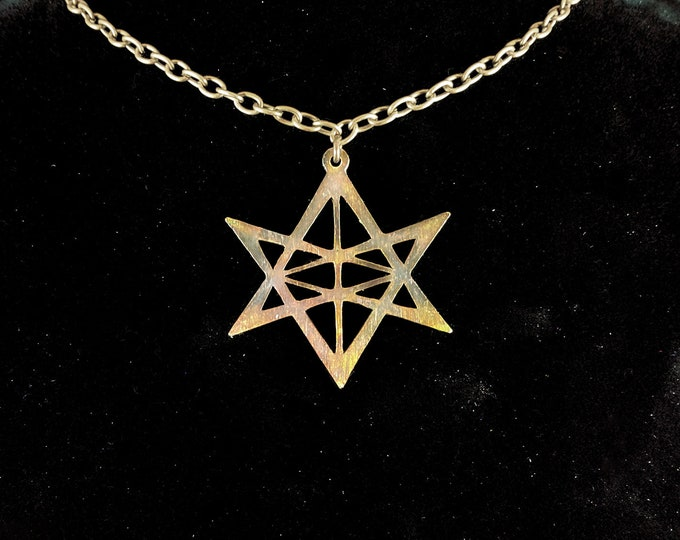 Blazing Star Unicursal Hexagram Pendant Necklace