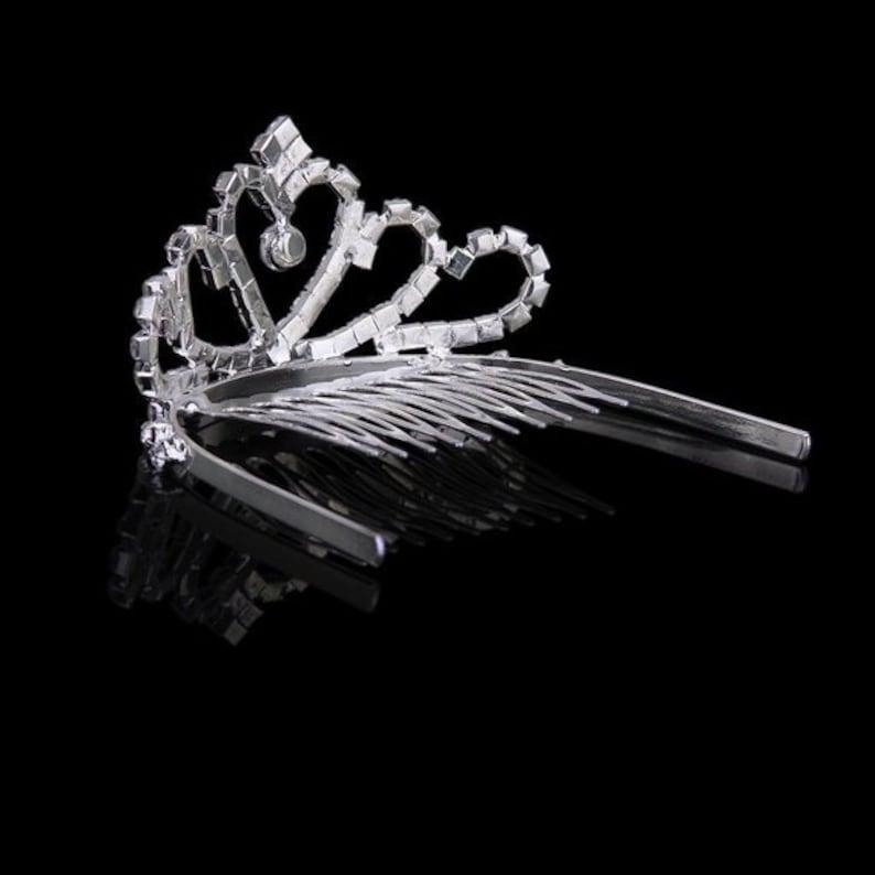 PRINCESS flower girl silvertone HEART RHINESTONE tiara has builtin comb to hold into hair