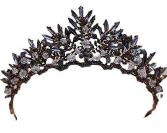 Black Diamond Navette Foiled Baroque Crown BLACK DIAMOND Rhinestone Black Crown Black Bridal Crown