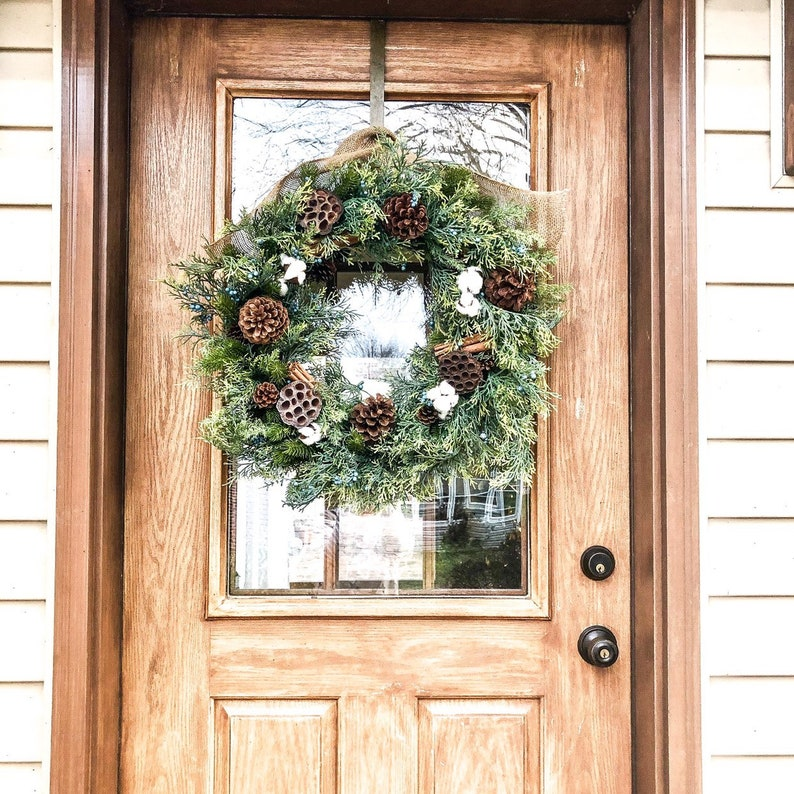 Winter wreath Winter decor Juniper wreath Cotton wreath
