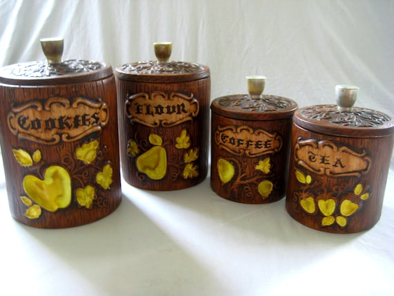 Kitchen Canister Set, Treasure Craft, Yellow Fruit, Cookie Jar, Flour,  Coffee, Tea, Rustic Kitchen, Brown, Yellow Kitchen Decor, USA, 1970\'s