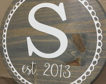 Initial Sign   Letter Sign   Round Sign   Gallery Wall   Wedding Sign   Custom   Personalized Sign   Family Established Sign
