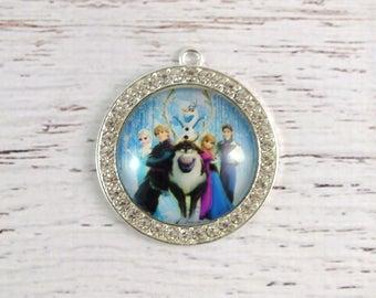 Frozen rhinestone pendant
