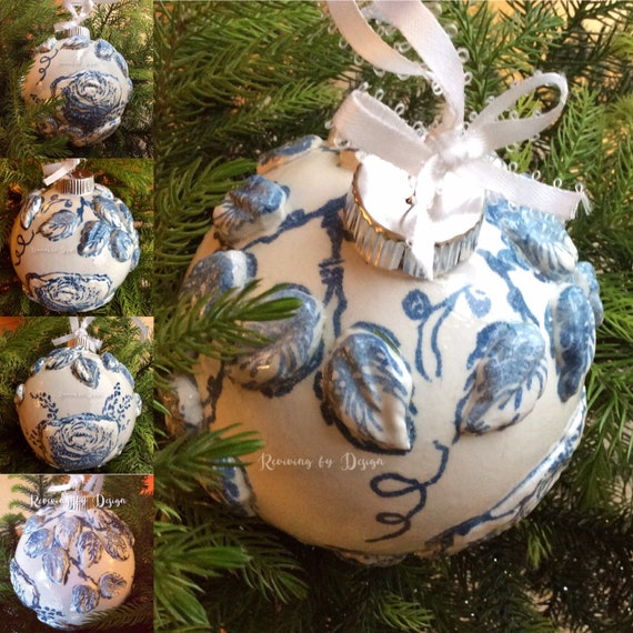 Elegant Handmade Christmas Ornaments.Handmade Christmas Globe Ornament Home Decor French Shabby Chic Old World Romantic Elegant English Country Gift Provincial White