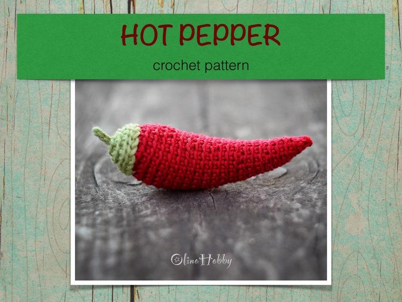 HOT PEPPER Crochet Pattern PDF  Crochet hot pepper pattern image 0