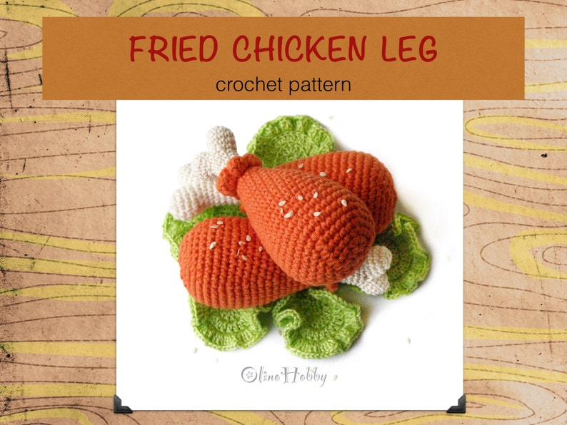 CHICKEN LEGS Crochet Pattern PDF  Crochet fried chicken leg image 0