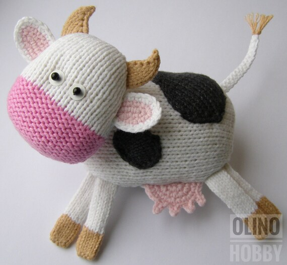 Cow Knitting Pattern Pdf Knitted Cow Pattern Knitted Animal Etsy