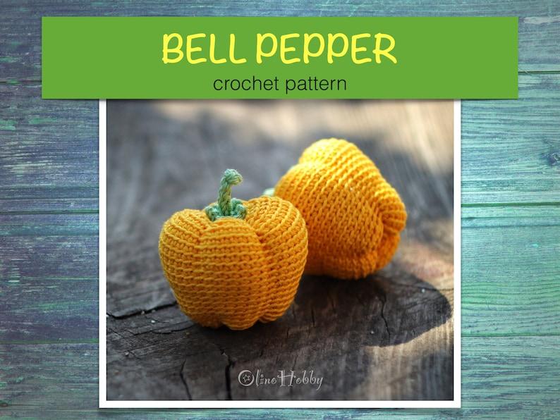 BELL PEPPER Crochet Pattern PDF  Crochet pepper pattern image 0