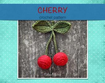 CHERRY crochet pattern PDF - Crochet fruit pattern Crochet cherry Amigurumi cherry pattern Crochet fruit Crochet play food