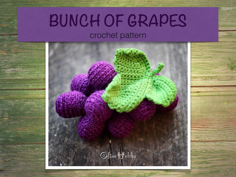 GRAPE Crochet Pattern PDF  Crochet grape pattern Bunch of image 0
