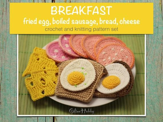 Breakfast Crochet Knitting Patterns Set Pdf Crochet Fried Etsy