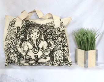 7.01 Ganesha Natural Canvas Tote. Vegan. Yoga. Zen. Namaste. Peace. Boho
