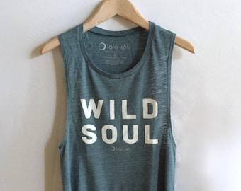18.2 Denim Blue Slub Knit Women's Muscle Tank. Soul. Zen. Yoga. Athletic. Chill. Peace. Meditate. Namaste. Boho