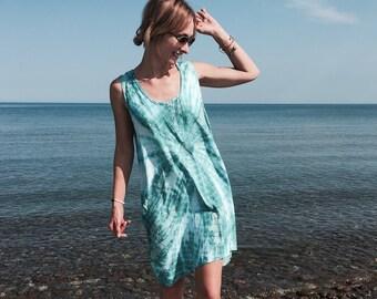 22.4 Aquamarine Tie Dye Short Sun Dress. Summer. Beach. Boho. Cover Up