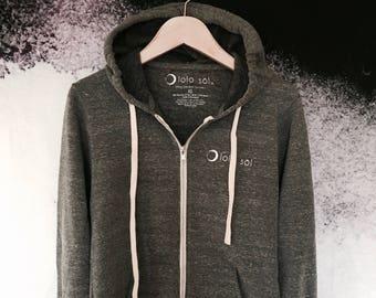 14.91 Stardust Full Zip Fleece Hoodie with Logo on Back. Sun. Moon. Yoga. Athletic. Cozy. Sweatshirt. Barre. Fitness. Zen