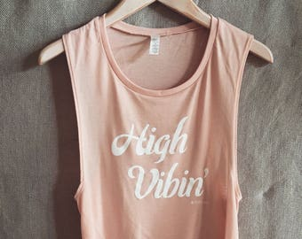 7.1 Peaches and Cream Festival Tank. High Vibes. Yoga. Chill. Festival. Athleisure. Boho. Muscle Tank