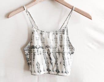 3.02 Moonstone X-Back Bralette. Batik Print. White. Grey. Yoga. Barre. Athletic. Boho. Zen. Moon