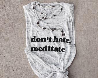 5.3 White Marble Muscle Tank. Eco-Friendly. Yoga. Meditate. Zen. Chill. Boho. Festival. Wanderlust. Fitness. Don't Hate Meditate.