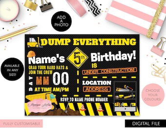 Digital Download Children's Construction Party Invitation - Builders - Yellow, White, Black, Orange - Tools, Trucks - Customisable - Any Age