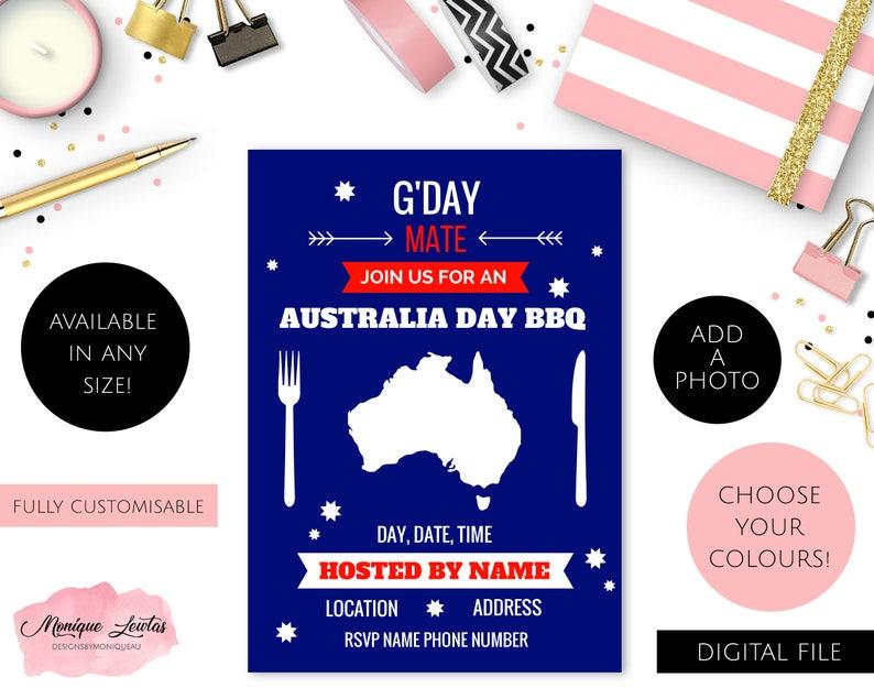 Personalised Printable Australia Day Invitations Aussie