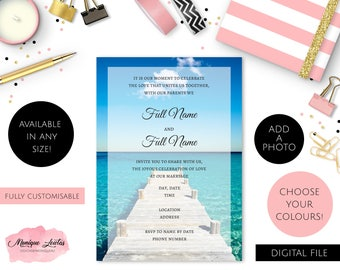 Digital Download Personalised Beach Wedding / Engagement / Birthday Invitation - Blue, White & Black - Simple - Ocean - Customisable