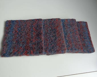 Felt coasters in midnight blue and red