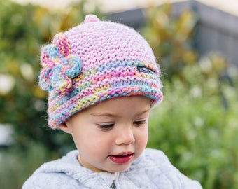 Pink Knitted Hat for Girl - Girls Knitted Beanie Hat with Flower