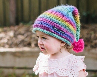 Rainbow Toddler Hat - Pom Pom Beanie Hat - Winter Beanie Hat for Girls -  Pom Pom Baby Hat - Beanie with Pom Pom in Sizes 6 Months to 5 Years e907efcce0f0