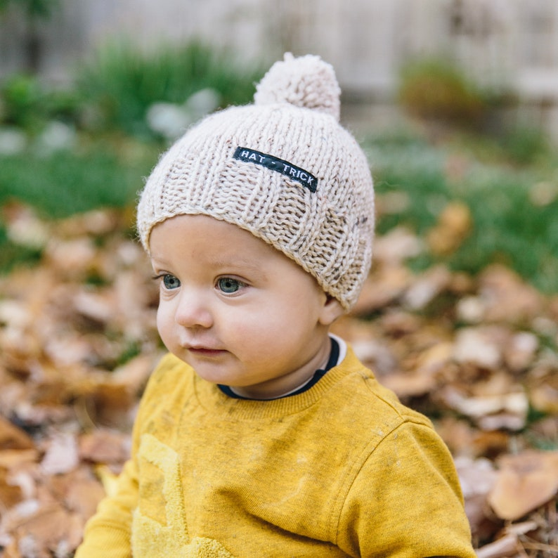 8d88b9822a5 Neutral Baby Beanie with Pom Pom Knitted Baby Hat for Boy or