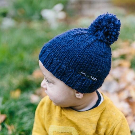 Navy Blue Baby Beanie with Pom Pom Knitted Baby Hat Pom  62e9b436786b